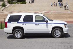 An image of a Columbia University hybrid Chevy Tahoe.