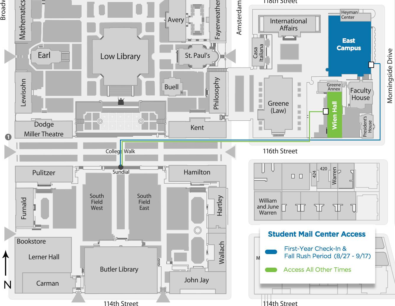 Map of Student Mail Center access points.